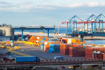 Big cargo terminal in sea port