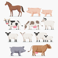 Animal farm set. The horse pig cow goat and sheep. Vector illust