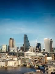 Business skyline: City of London skyscrapers - blue sky copy spa