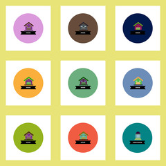 Collection of stylish vector icons in colorful circles building house
