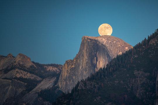 Supermoon rise over the Half Dome in Yosemite