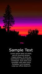 Colorful background for flyer or website design. Neon lights.  Violet, orange and black tones.