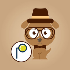doggy hipster concept, monocle style vintage vector illustration eps 10