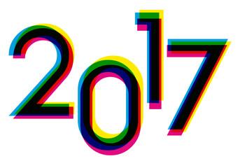 2017 - Carte de vœux - Chiffres couleurs décalés