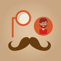 hipster concept mustache and monocle man vector illustration eps 10