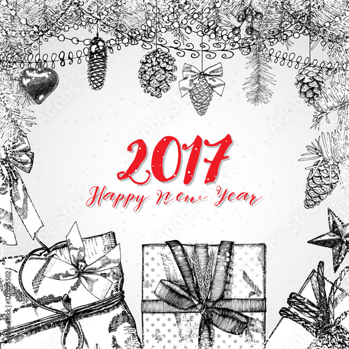 2017 Happy New Year hand drawing greeting card design with ...