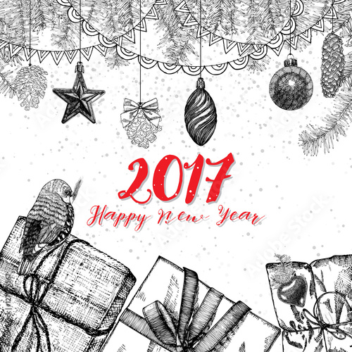quot 2017 happy new year drawing greeting card design with calligraphy drawn lettering