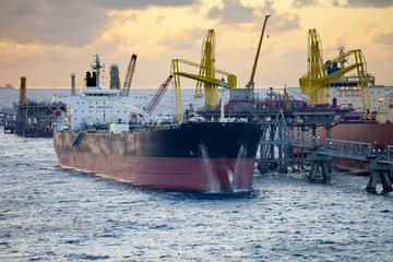 oil tankers unloading in the Caribbean