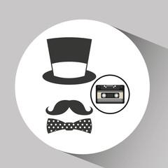 music cassette hat mustache bow tie vintage background desgin vector illustration eps 10