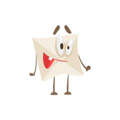 Happy Humanized Letter Paper Envelop Cartoon Character Emoji Illustration