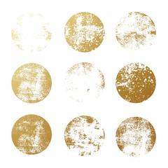 Set of golden foil round textures for logos, labels, branding, frames. Golden glitter leaf foil textured circle stamps.