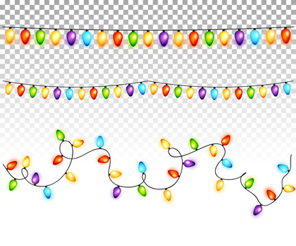 Christmas light bulbs garlands on transparent background vector