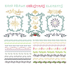 Collection of colorful hand drawn decorative doodle, vintage bor