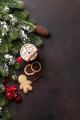 Christmas fir tree, hot chocolate and marshmallow