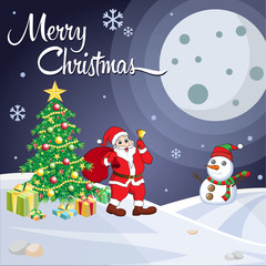 Merry Christmas night greeting card. Funny Santa, snowman, tree, and gift box vector illustration.