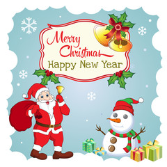 Merry Christmas and Happy new year greeting card. Funny Santa, snowman, bell, and gift box vector illustration.