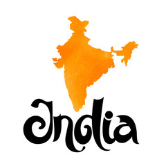 India. Vector orange watercolor background with lettering and map.