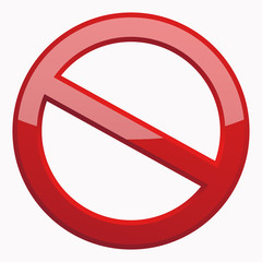 Red Prohibition sign 3D Icon at the white background. Do Not Symbol for your Business Presentation. Vector Isolated illustration