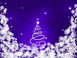 Purple card with a shiny snowy tree in the center surrounded by snowflakes. Vector Illustration