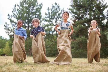 Children at sack race
