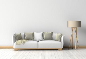 Couch im Raum vor einer Wand