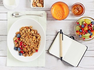 Breakfast set with granola, fruits salad, fresh juice and various of topping. Healthy eating concept.