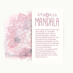 Hand-drawn mandala on the watercolor background, half circle