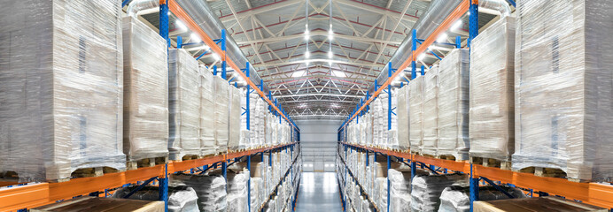 Huge distribution warehouse with high shelves. Top panoramic view.