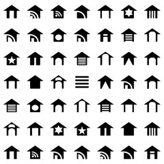 Vector Black Houses Icons Set For Your Business Presentation And For Site Element. White Background
