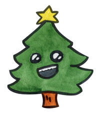 Cheerful hand drawn watercolor cartoonish Christmas tree, isolated, on a white background, will go great with whatever you need :)