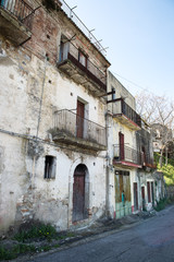 Street of history abandoned town in old Aliano