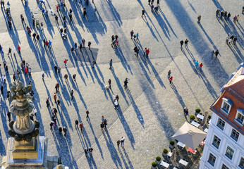 View from top on the Neumarkt square in Dresden, Germany.