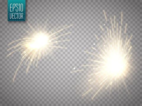 Set of metal welding with sparks or sparklers isolated