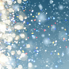 blue christmas and new years snow background with colorful bokeh