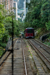 Tram approaching on the Victoria Peak in Hong Kong