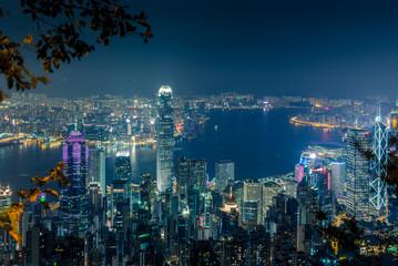 Lights and skyline of Central Hong Kong at night - 1