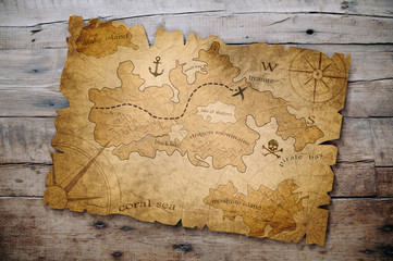 treasure map on wooden table