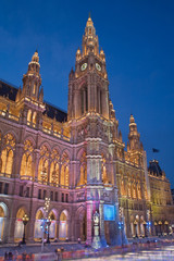 VIENNA, AUSTRIA - FEBRUARY 13, 2010:Town hall (Rathaus) and scating in winter.