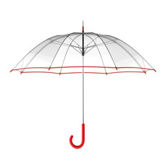 Clear transparent umbrella isolated on white background. 3D illustration .