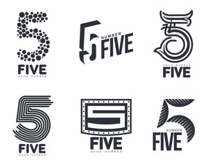 Set of black and white number five logo templates, vector illustrations isolated on white background. Black and white graphic number five logo templates - technical, organic, abstract