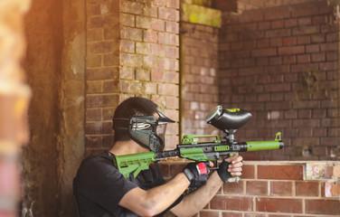 Paintball gamer with gun