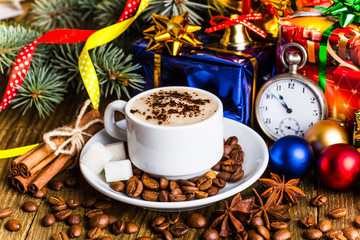 A cup of coffee holidays, winter, christmas, hot drinks