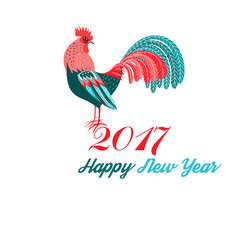 Christmas greeting card with a rooster
