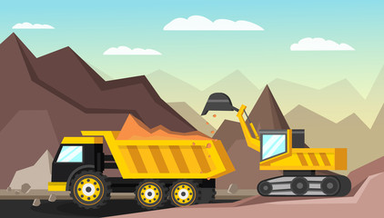 Mining Industry Orthogonal Illustration