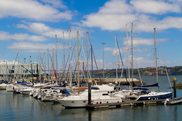 yachts mooring in a harbour,