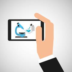 hand hold smartphone microscope exam vector illustration eps 10