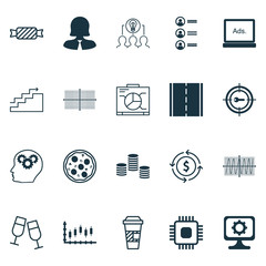 Set Of 20 Universal Editable Icons. Can Be Used For Web, Mobile And App Design. Includes Icons Such As Board, Digital Media, Cosinus Diagram And More.