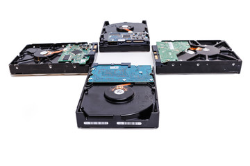 few Hard disk drives, HDD on white