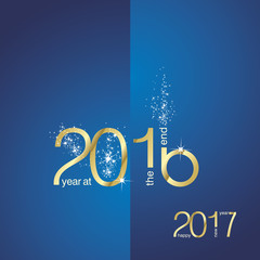 The End 2016 New Year 2017 gold blue vector