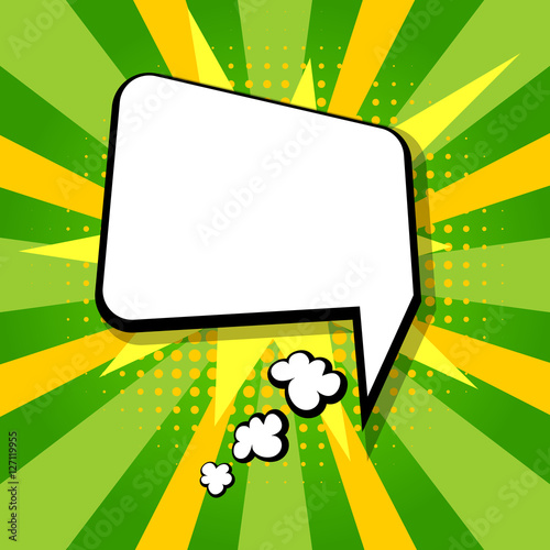Clear empty boom comic speech bubble pop art style colored comic text bubble message